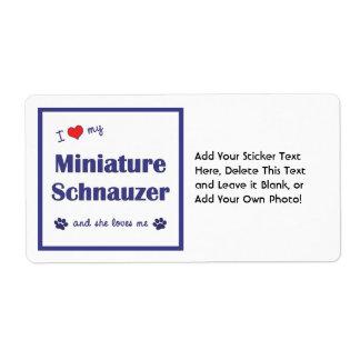 I Love My Miniature Schnauzer (Female Dog) Label