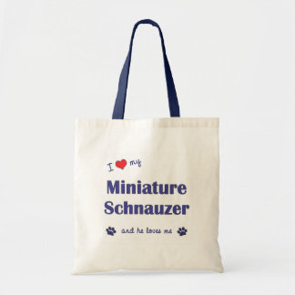 I Love My Miniature Schnauzer (Male Dog) Bags