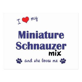 I Love My Miniature Schnauzer Mix (Female Dog) Postcard