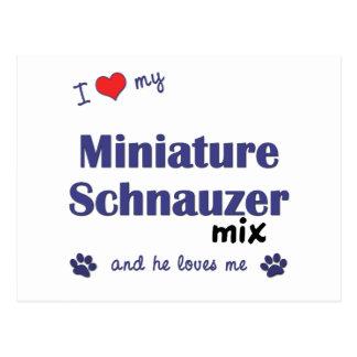 I Love My Miniature Schnauzer Mix (Male Dog) Postcard
