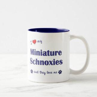 I Love My Miniature Schnoxies (Multiple Dogs) Two-Tone Coffee Mug
