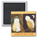 I LOVE MY Mom and Dad! Owl Family Magnet magnet