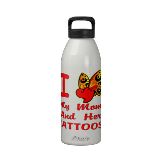 I Love My Mom And Her Tattoos Water Bottles