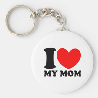 I Love My Mom Basic Round Button Keychain