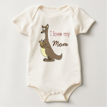 I Love My Mom Cute Kangaroos Baby Clothes Baby Bodysuit