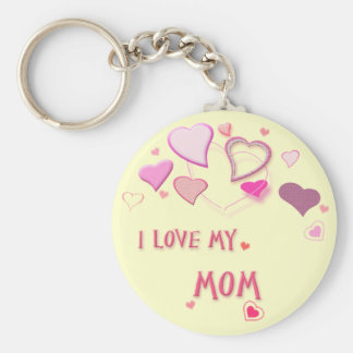 I Love my Mom - Cute Pink Lovehearts Basic Round Button Keychain