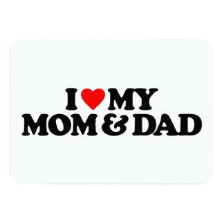I LOVE MY MOM & DAD 5X7 PAPER INVITATION CARD