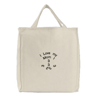 I Love my Mom ! Embroidered Tote Bags