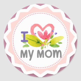 I love my mom heart flower Starburst Classic Round Sticker