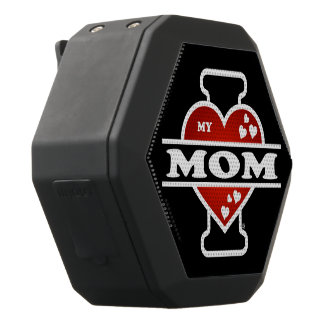 I Love My Mom Heartbeats Black Bluetooth Speaker