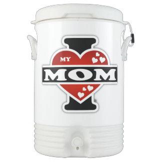 I Love My Mom Heartbeats Cooler