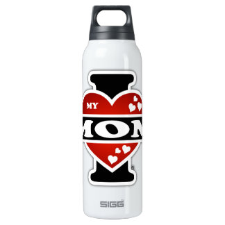 I Love My Mom Heartbeats Insulated Water Bottle
