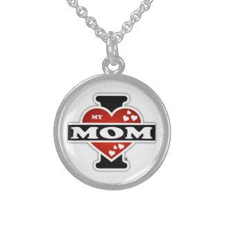 I Love My Mom Heartbeats Round Pendant Necklace