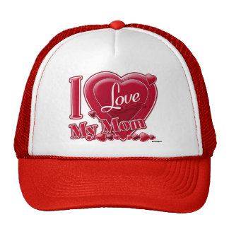 I Love My Mom red - heart Trucker Hat