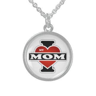 I Love My Mom Round Pendant Necklace