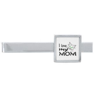 I Love My Mom Silver Finish Tie Clip