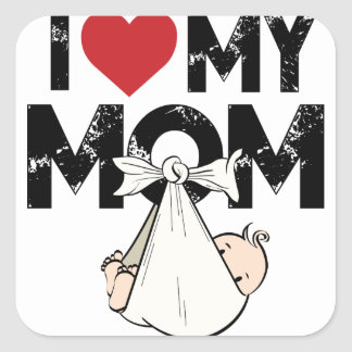 I Love My Mom Square Sticker