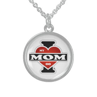 I Love My Mom To Infinity Round Pendant Necklace