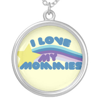 I Love my Mommies Round Pendant Necklace