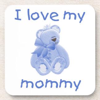 I love my mommy (blue bear) beverage coaster