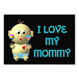I love my mommy Bouncing Baby with Heart & Rattles Card