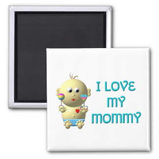 I love my mommy Bouncing Baby with Heart & Rattles Magnet