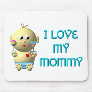 I love my mommy Bouncing Baby with Heart & Rattles Mouse Pad