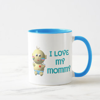 I love my mommy Bouncing Baby with Heart & Rattles Mug