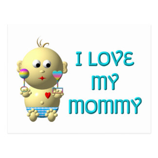 I love my mommy Bouncing Baby with Heart & Rattles Postcard