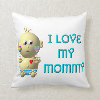 I love my mommy Bouncing Baby with Heart & Rattles Throw Pillow