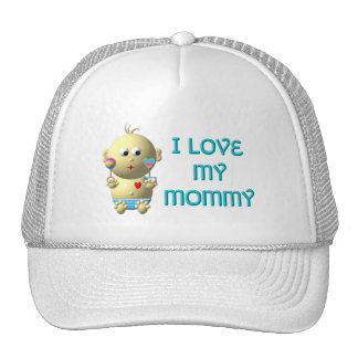 I love my mommy Bouncing with Heart & Rattles Trucker Hat