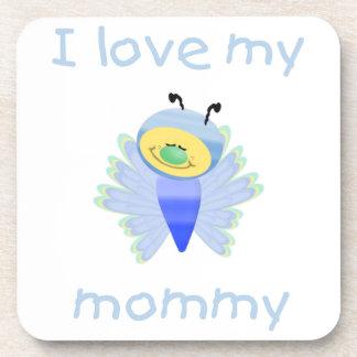 I love my mommy (boy flutterbug) beverage coaster
