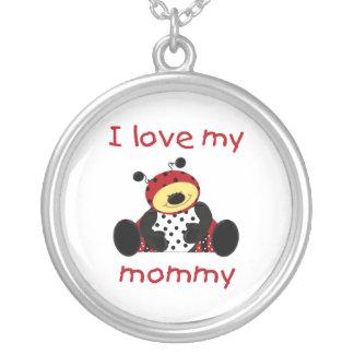 I love my mommy (boy ladybug) round pendant necklace