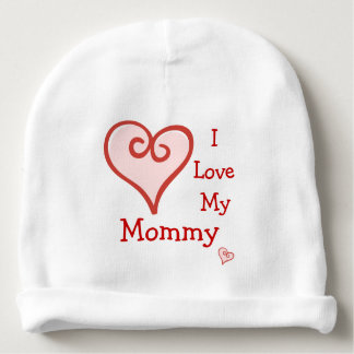 I Love My Mommy Cute Red Hearts Baby Custom Words Baby Beanie