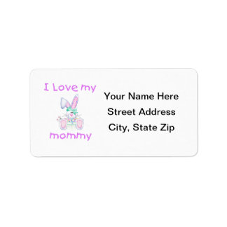 I love my mommy (girl bunny) label