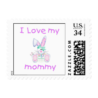 I love my mommy (girl bunny) postage stamps