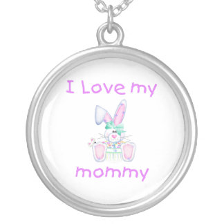 I love my mommy (girl bunny) round pendant necklace