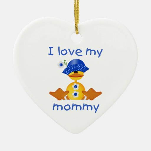 I love my mommy (girl duck) Double-Sided heart ceramic christmas ornament