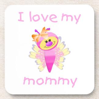 I love my mommy (girl flutterbug) beverage coaster