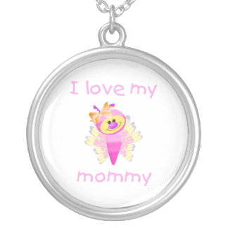 I love my mommy (girl flutterbug) round pendant necklace