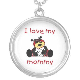 I love my mommy (girl ladybug) round pendant necklace