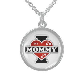 I Love My Mommy Heartbeats Round Pendant Necklace