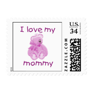 I love my mommy (pink bear) stamp