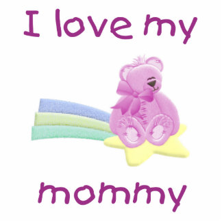I love my mommy pink bear w star photo sculptures