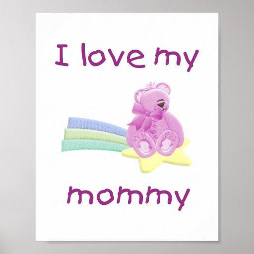 I love my mommy (pink bear w/ star) print