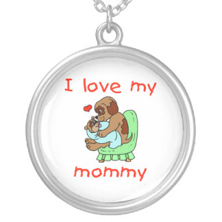 I love my mommy (puppies) round pendant necklace
