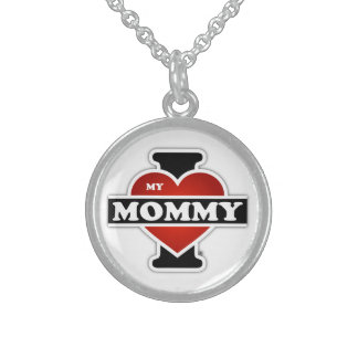 I Love My Mommy Round Pendant Necklace