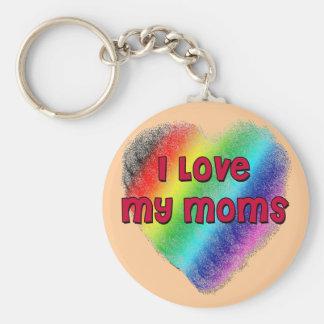 I Love My Moms Basic Round Button Keychain