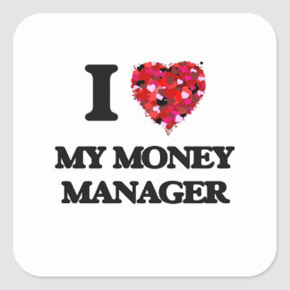 I Love My Money Manager Square Sticker
