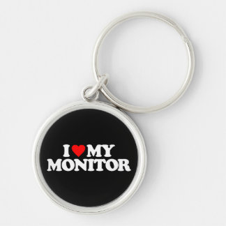 I LOVE MY MONITOR Silver-Colored ROUND KEYCHAIN
